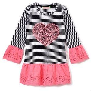 Baby girls navy & white stripes, pink trim & heart